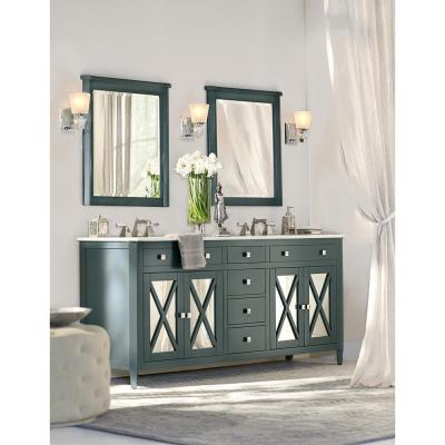Barcelona 73 in. W x 22 in. D Double Bath Vanity in Teal Blue with China White Marble Top and White Sink