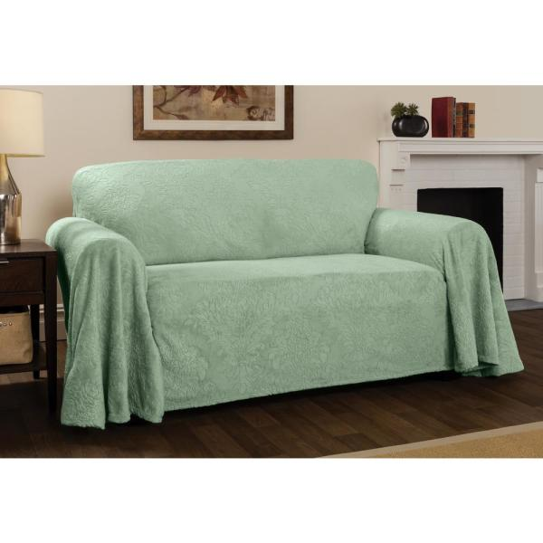 Innovative Textile Solutions Plush Damask Slipcover Sage Throw Loveseat