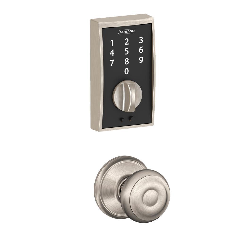 Century Touch Electronic Door Lock Deadbolt and Georgian in Satin Nickel