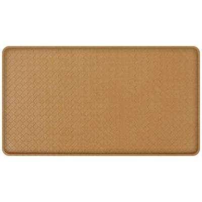 Classic Basketweave Khaki 20 in. x 36 in. Comfort Kitchen Mat