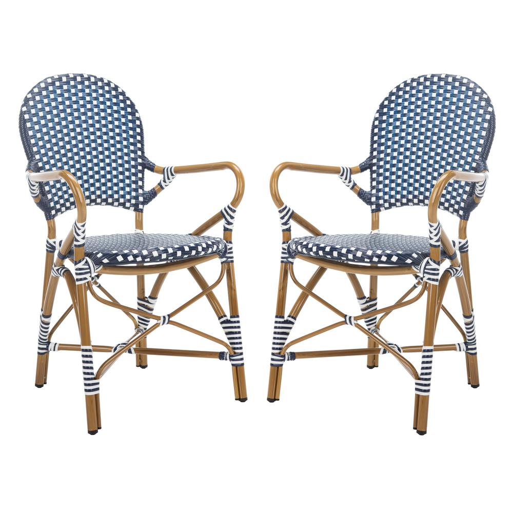 Fine Safavieh Hooper Stacking Aluminum Outdoor Dining Chair In Navy And White Set Of 2 Gmtry Best Dining Table And Chair Ideas Images Gmtryco