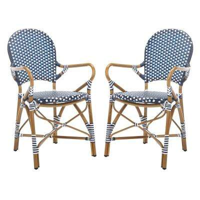 Hooper Stacking Aluminum Outdoor Dining Chair in Navy and White (Set of 2)