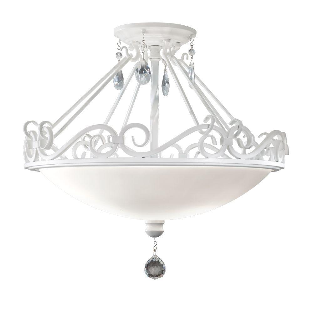 Chateau Blanc 2-Light Semi Gloss White Semi-Flush Mount