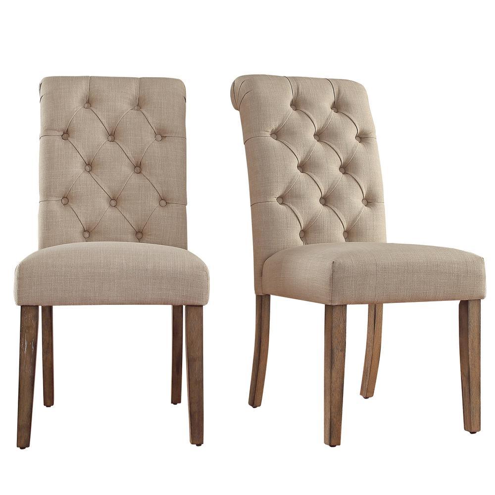 HomeSullivan Huntington Beige Linen Button Tufted Dining Chair (Set of 2)
