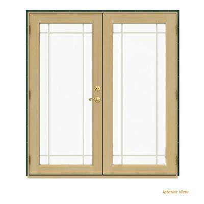 72 in. x 80 in. W-2500 Green Clad Wood Right-Hand 9 Lite French Patio Door w/Unfinished Interior