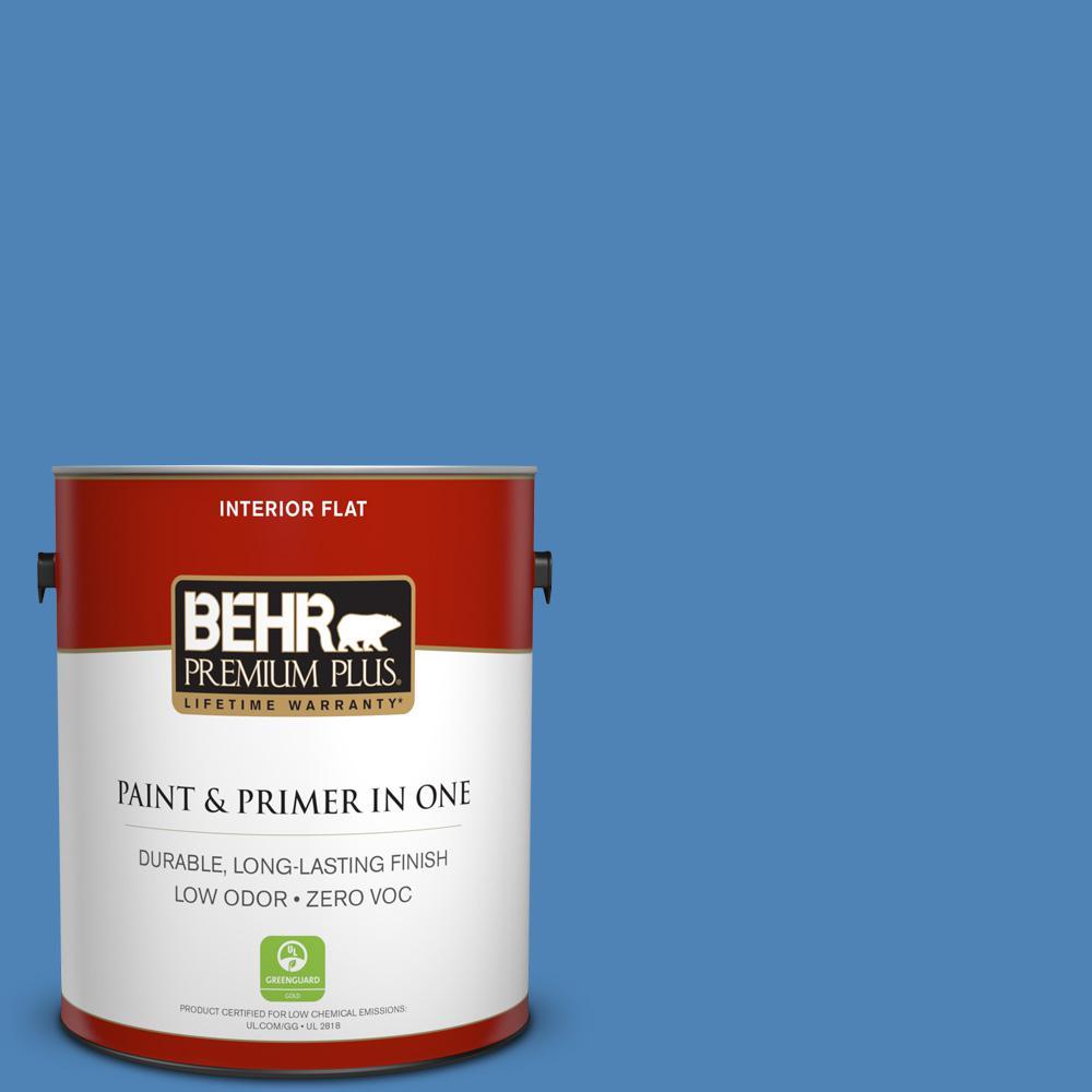 1 gal. #PPU15-06 Neon Blue Zero VOC Flat Interior Paint