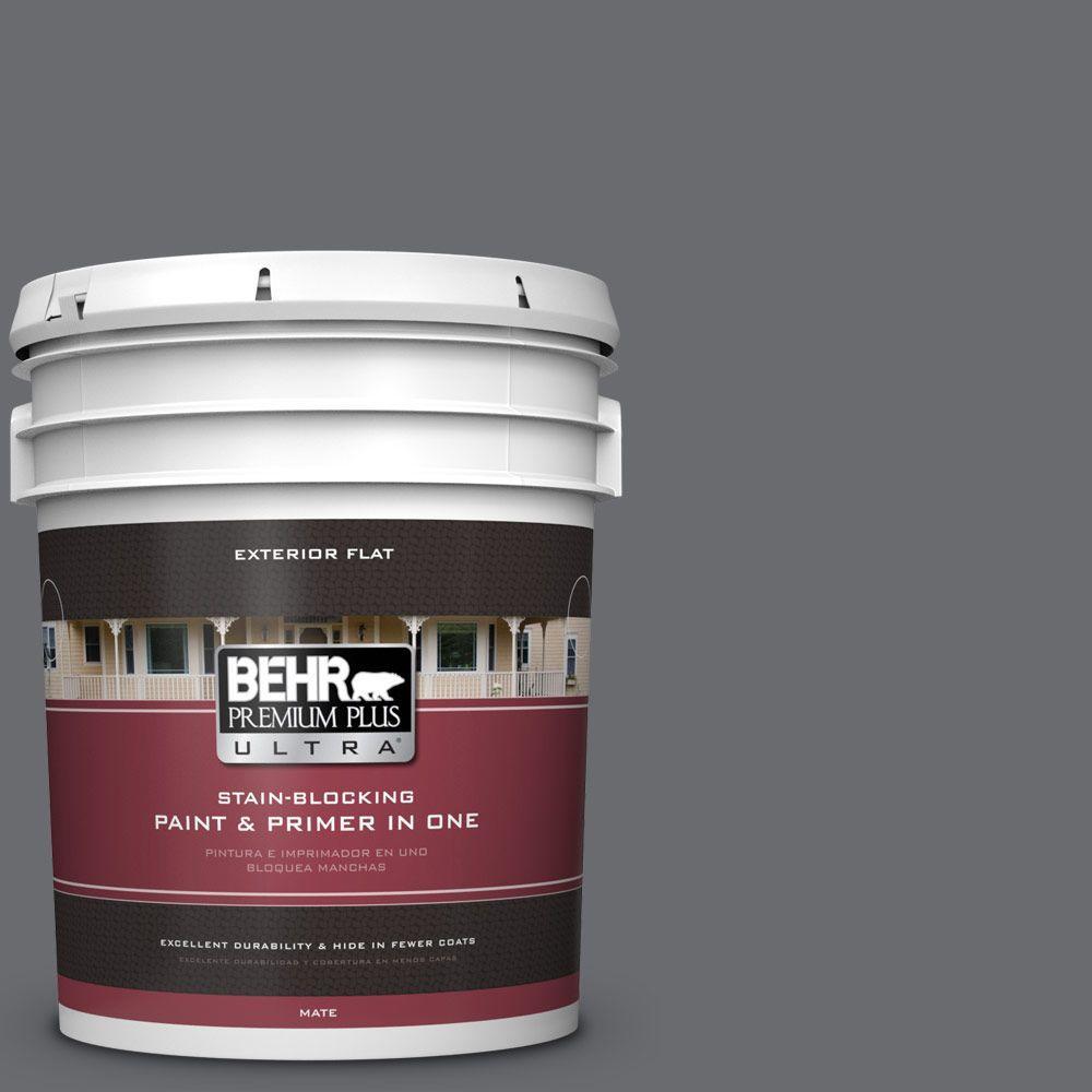 BEHR Premium Plus Ultra 5-gal. #PPF-49 Platinum Gray Flat Exterior Paint
