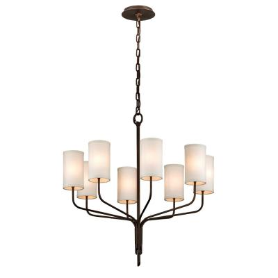 Juniper 8-Light Juniper Bronze 32 in. D Chandelier with Off-White Hardback Linen Shade