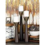 Polished Dark Brown Wood and Silver Aluminum Conical Candle Holders with Cone-Shaped Bobeche (Set of 3)