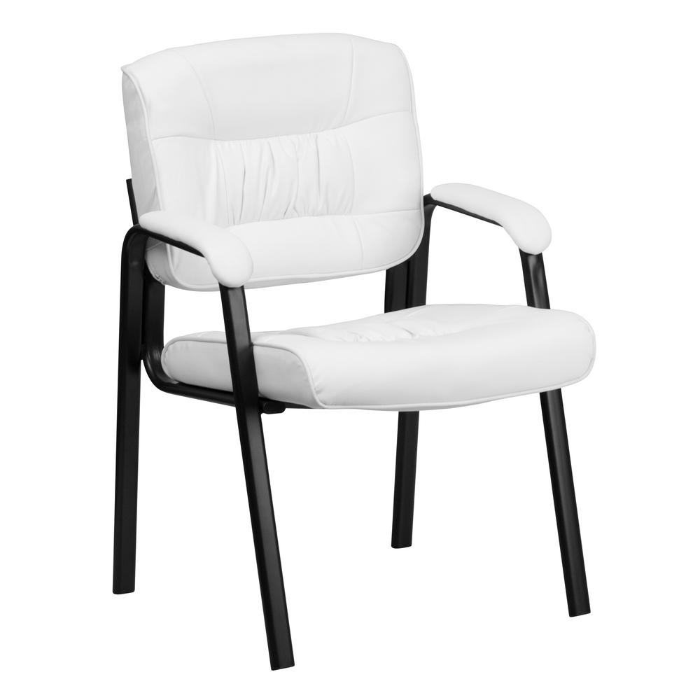 Flash Furniture White Leather Executive Side Chair With Black Frame Finish
