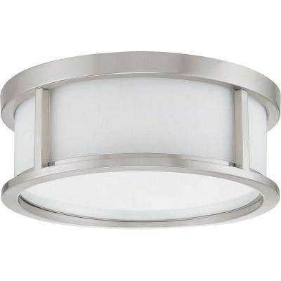 Andra 2-Light Brushed Nickel Flushmount with Satin White Glass