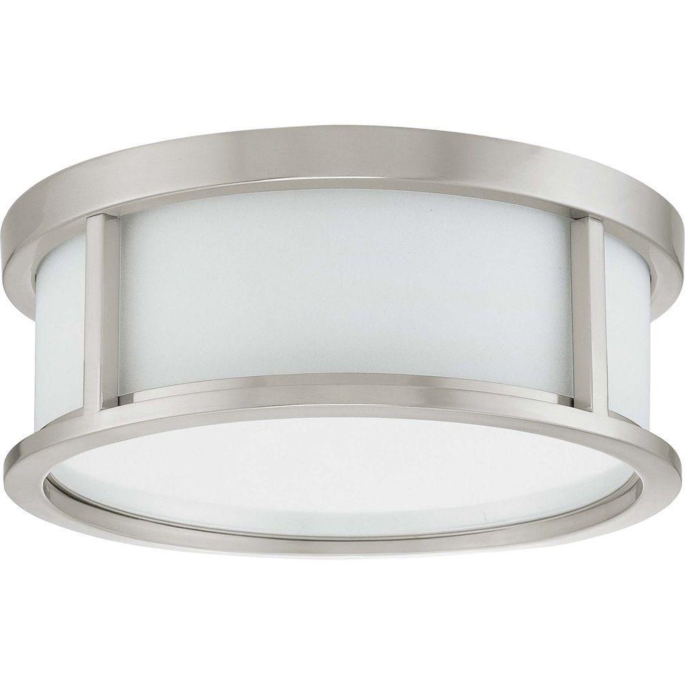 Andra 2-Light Brushed Nickel Flushmount with Satin White Glass
