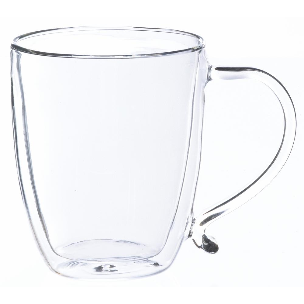 Grosche Cyprus 16 oz. Double-Walled Glass Coffee Mug, Clear