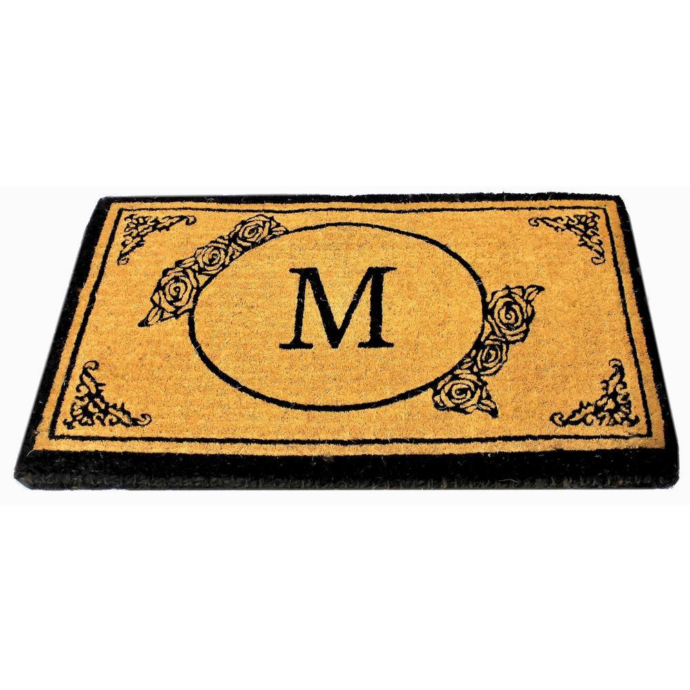 Monogram M 39 inch x 24 inch Coir Outdoor Welcome Entrance Doormat by