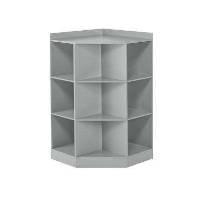 6-Cubby, 3-Shelf Corner Cabinet in Gray