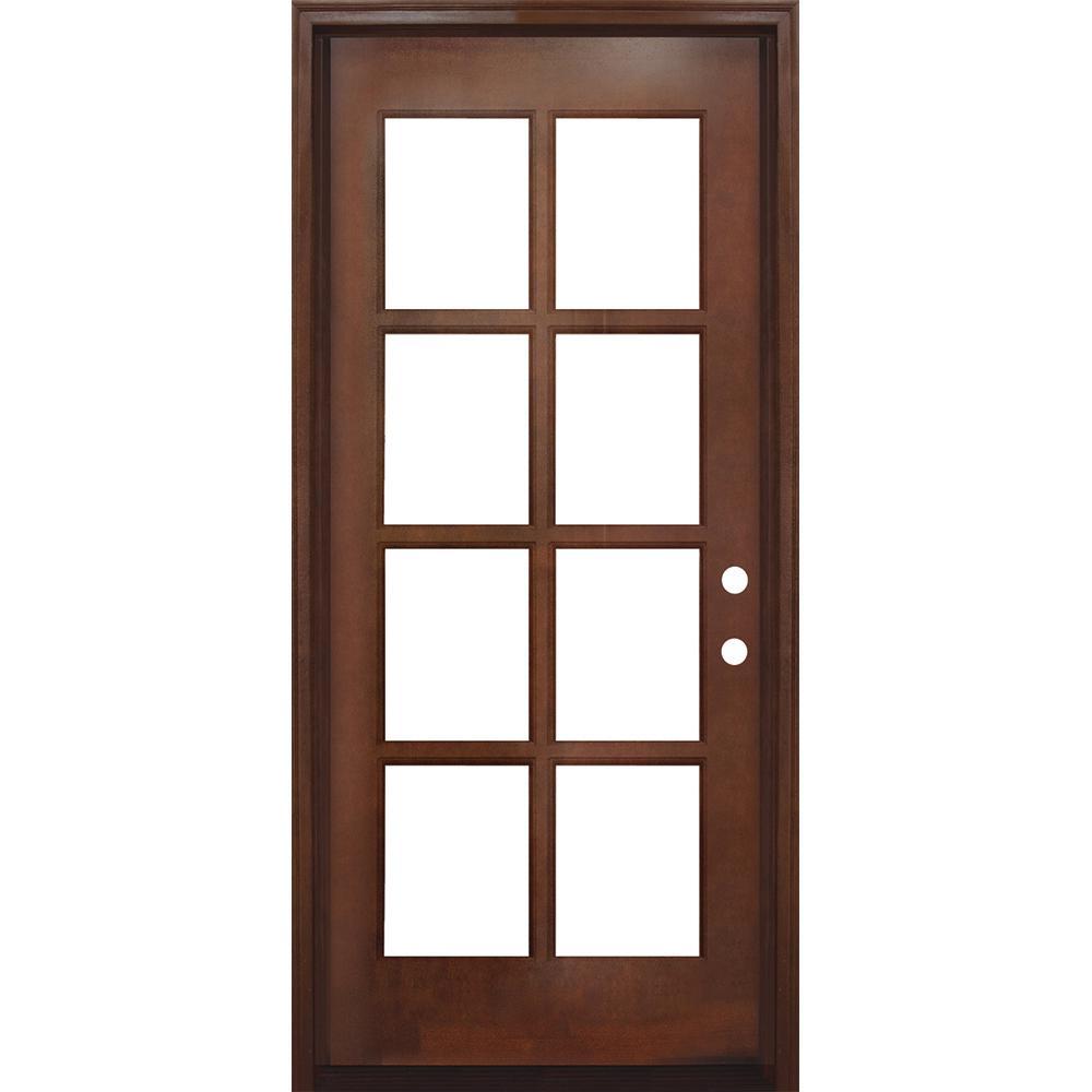 36 in. x 80 in. Craftsman Richmond 8-Lite Left-Hand Inswing Chestnut Mahogany Wood Prehung Front Door