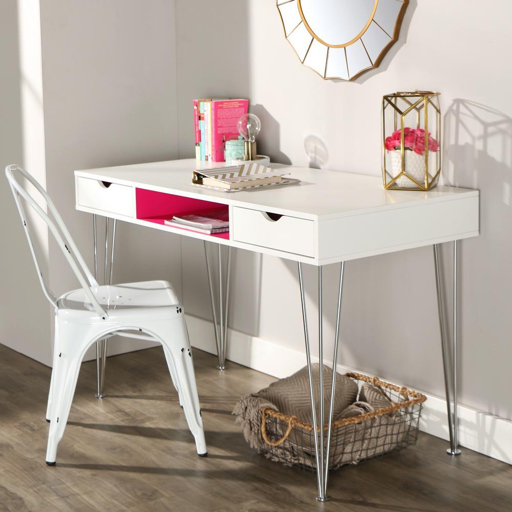 Walker Edison Furniture Company Hot Pink Desk With Storage