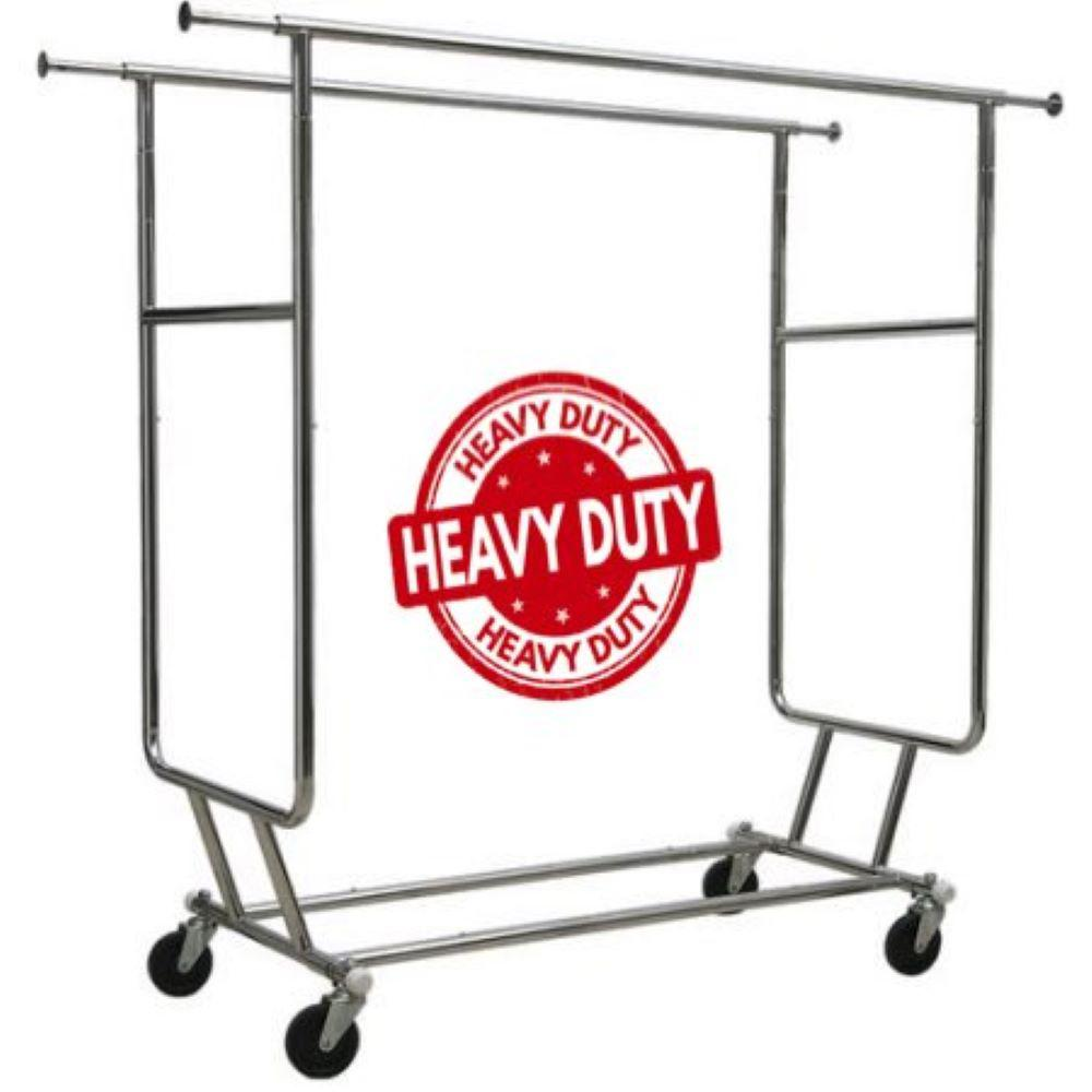"Commercial Grade Double Rail Rolling Clothing Rack, Heavy Duty - Designed with Solid ""One Piece"" Top Rails and Base."