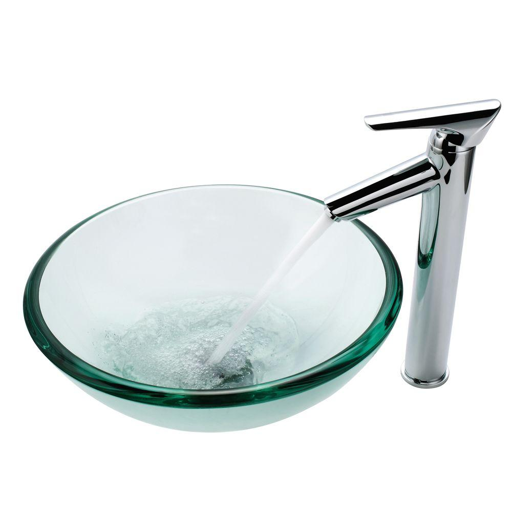 KRAUS 19 mm Thick Glass Vessel Sink with Decus Faucet in Chrome