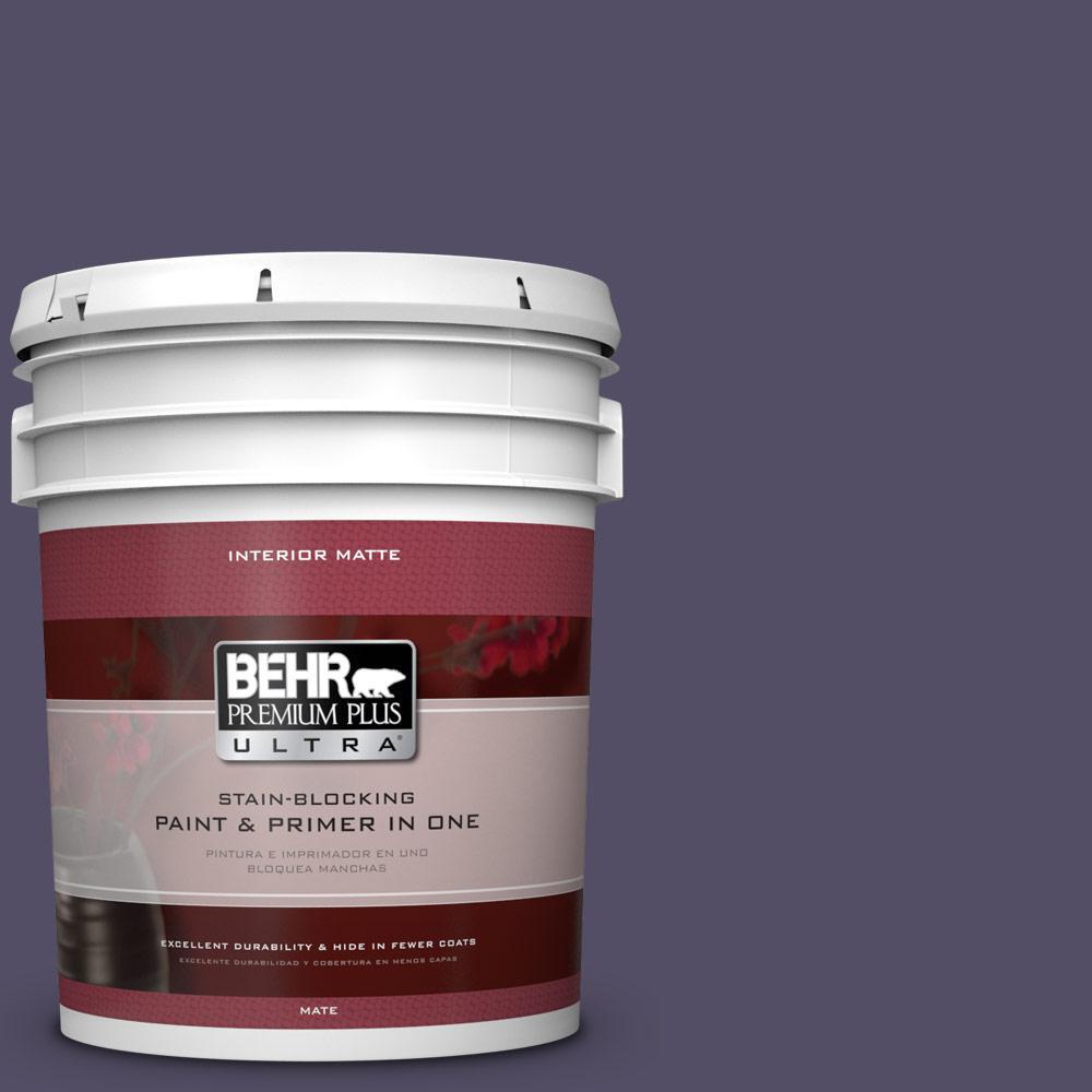 BEHR Premium Plus Ultra 5 gal. #650F-7 Violet Eclipse Flat/Matte Interior Paint