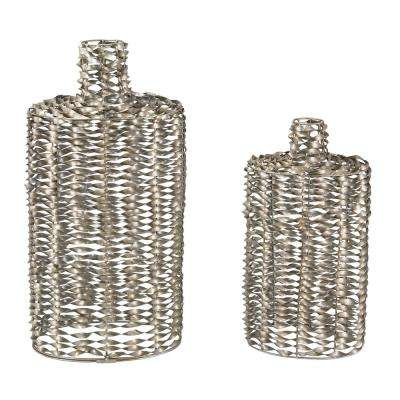 Twisted Metal Work 18 in. and 25 in. Decorative Vases in Silver Leaf (Set of 2)