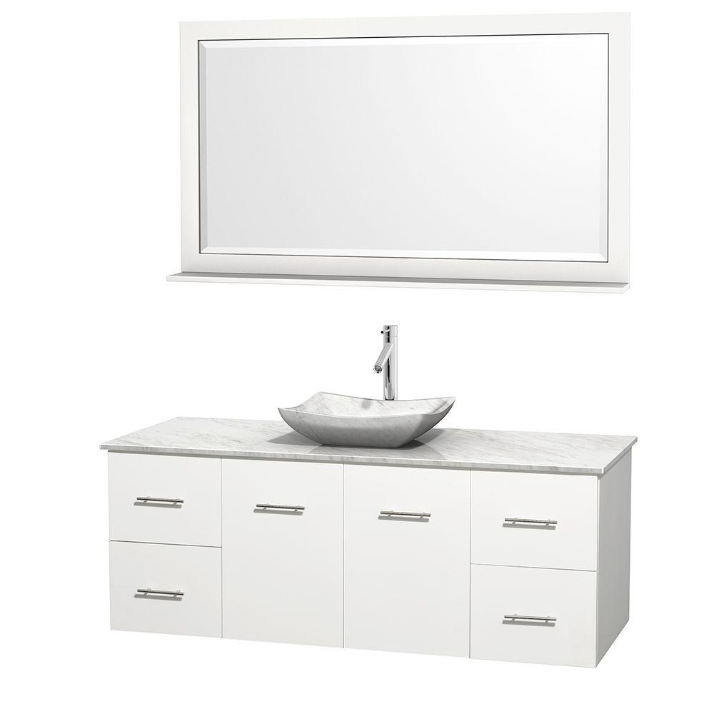 Wyndham Collection Centra 60 in. Vanity in White with Marble Vanity Top in Carrara White, Marble Sink and 58 in. Mirror