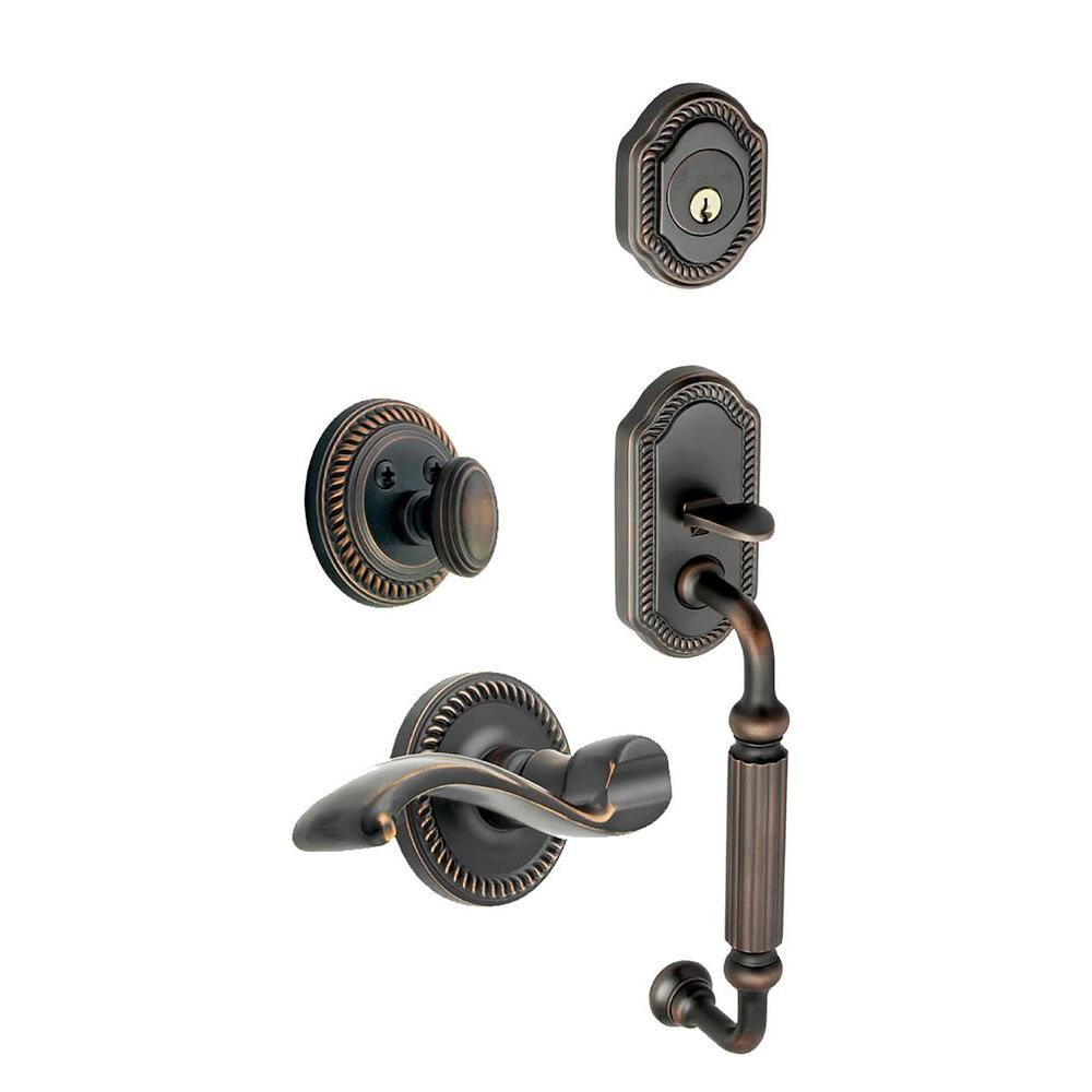 Grandeur Newport Single Cylinder Timeless Bronze F-Grip Handleset with Right Handed Portofino Lever