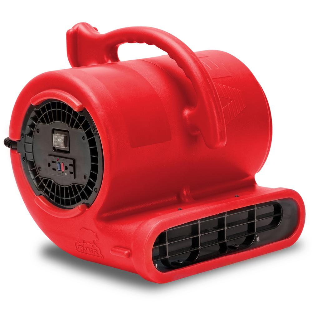 B-Air 1/3 HP Air Mover for Water Damage Restoration Carpet Dryer Janitorial Floor Blower Fan in Red