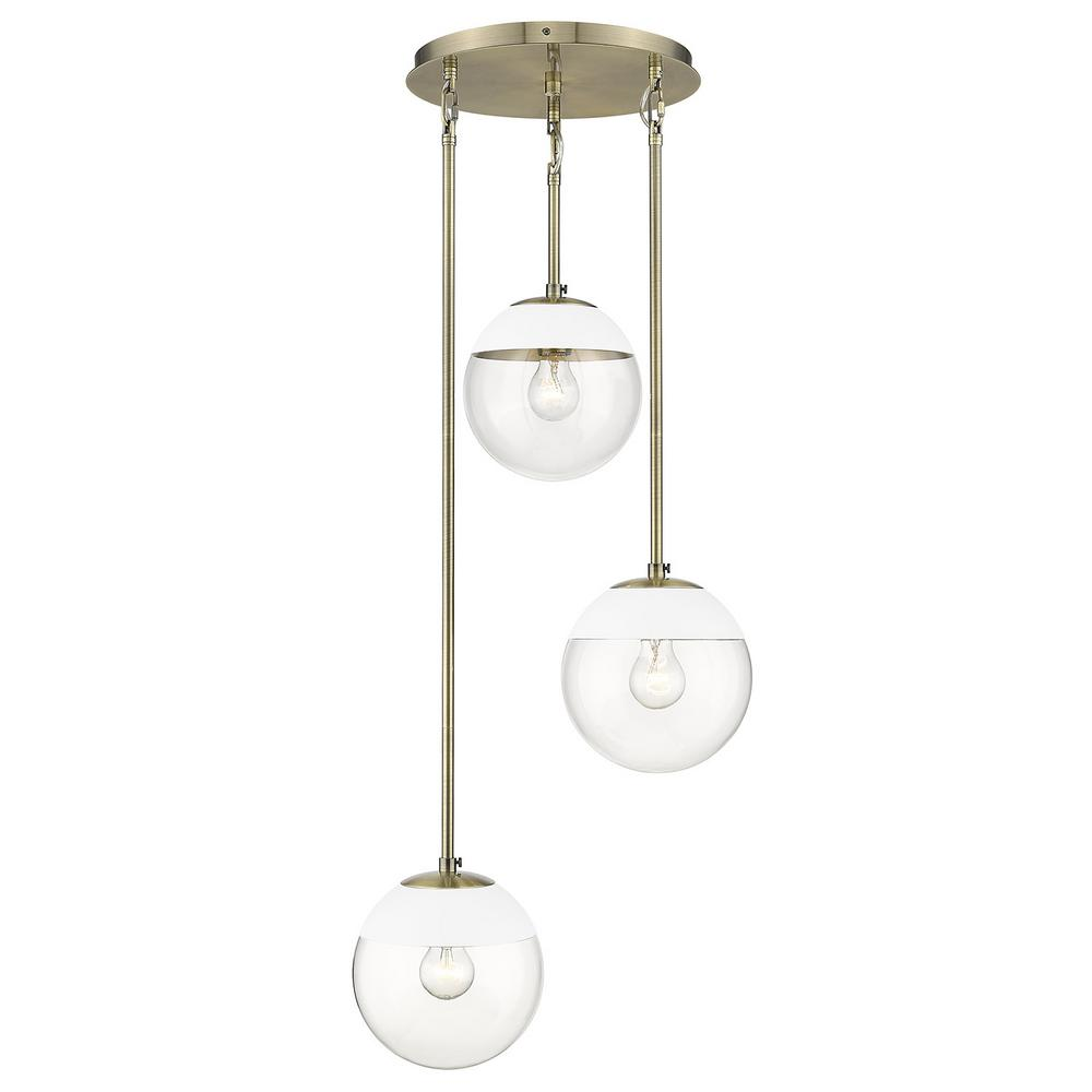 Golden Lighting Dixon 3-Light Aged Brass Pendant  with Clear Glass and White Cap