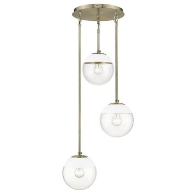 Dixon 3-Light Aged Brass Pendant  with Clear Glass and White Cap