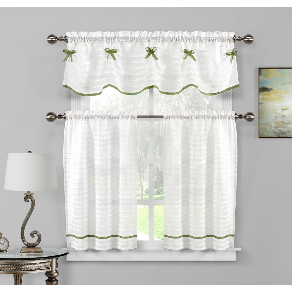 Duck River Carlee Kitchen Valance In White-Sage