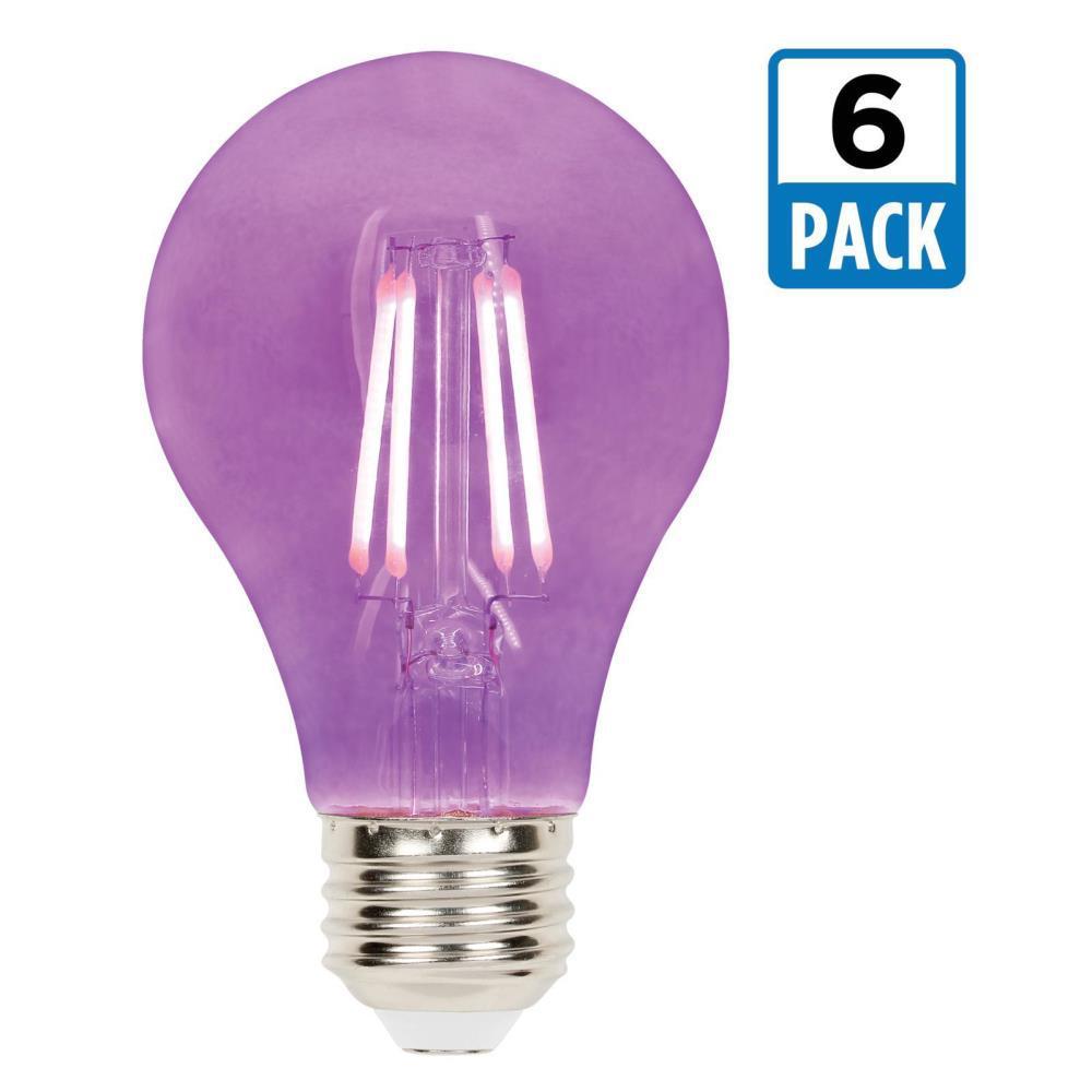 40-Watt Equivalent A19 Dimmable Purple Filament LED Light Bulb (6-Pack)