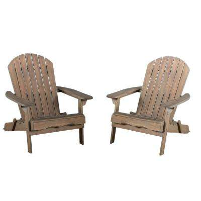 Hanlee Grey Folding Wood Adirondack Chair (2-Pack)