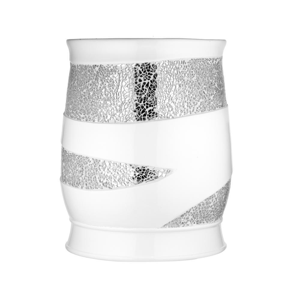 Sparkling Waste Basket in White