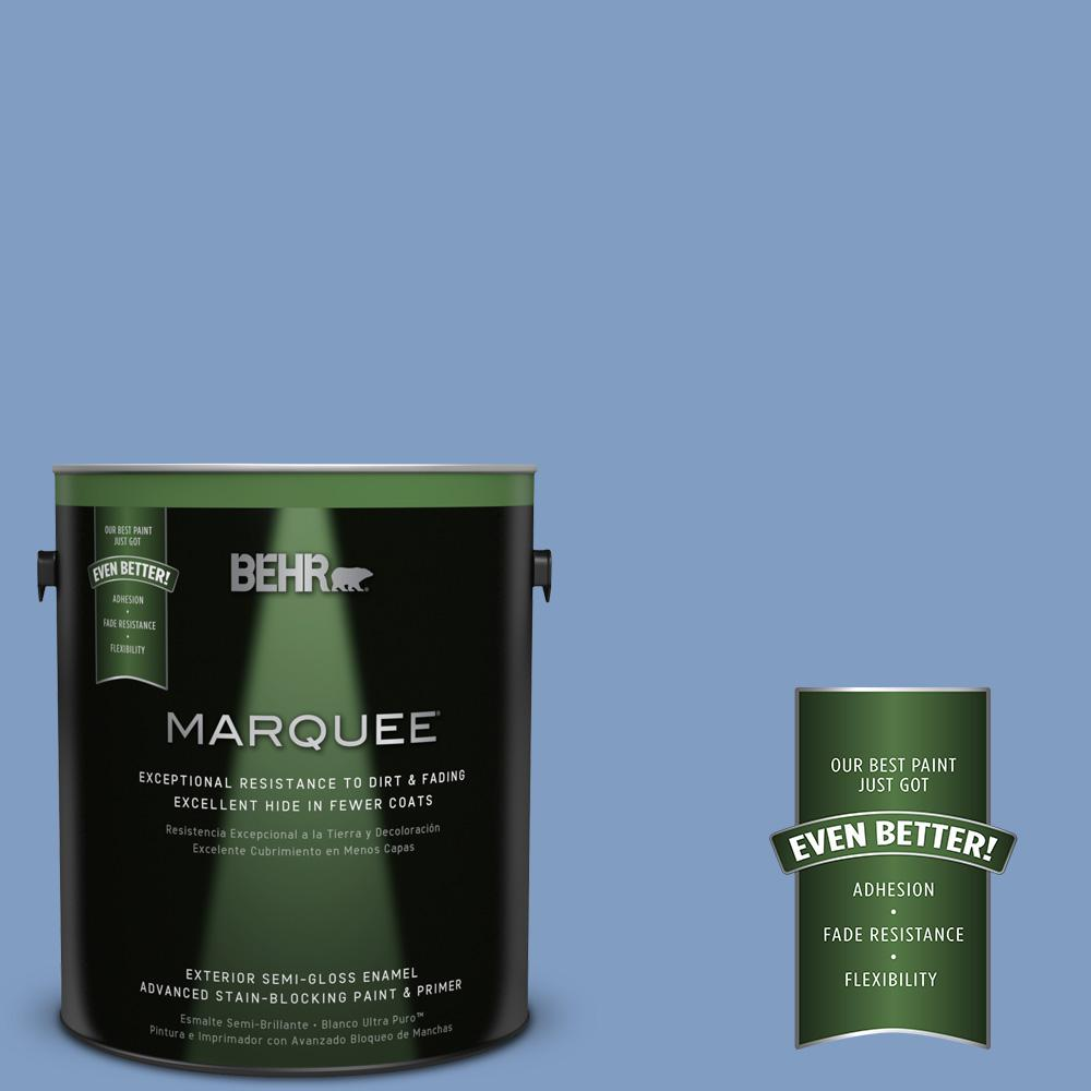 BEHR MARQUEE 1-gal. #M530-4 Washed Denim Semi-Gloss Enamel Exterior Paint