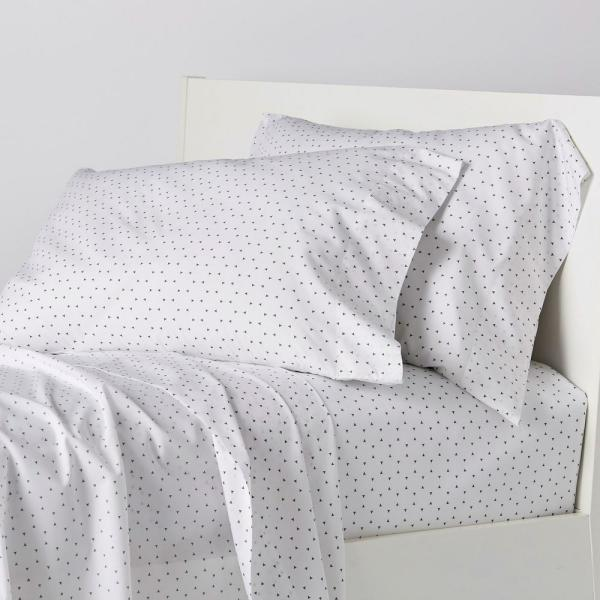 The Company Store Spotlight 4-Piece White/Gray 200-Thread Count Cotton Percale