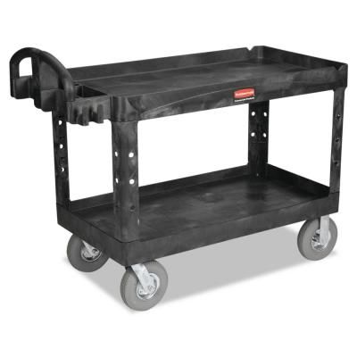 Heavy Duty Black 2-Shelf Utility Cart with Lipped Shelf in Large
