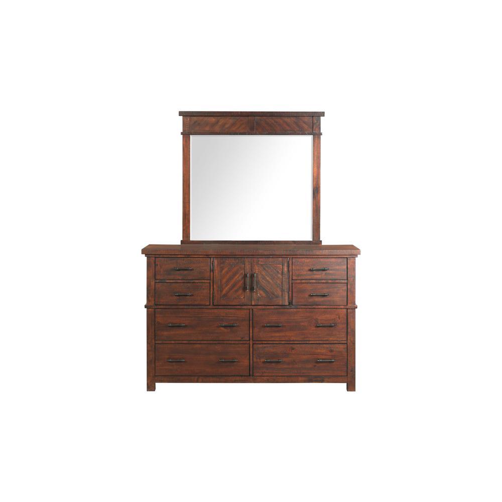 Dex 6-Drawer Dresser with Mirror in Walnut