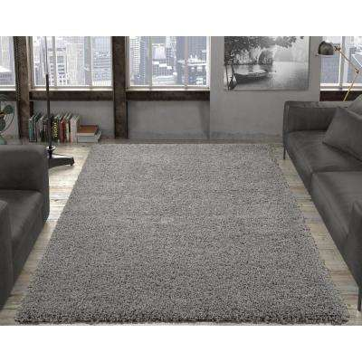 Contemporary Solid Grey 7 ft. 10 in. x 9 ft. 10 in. Shag Area Rug