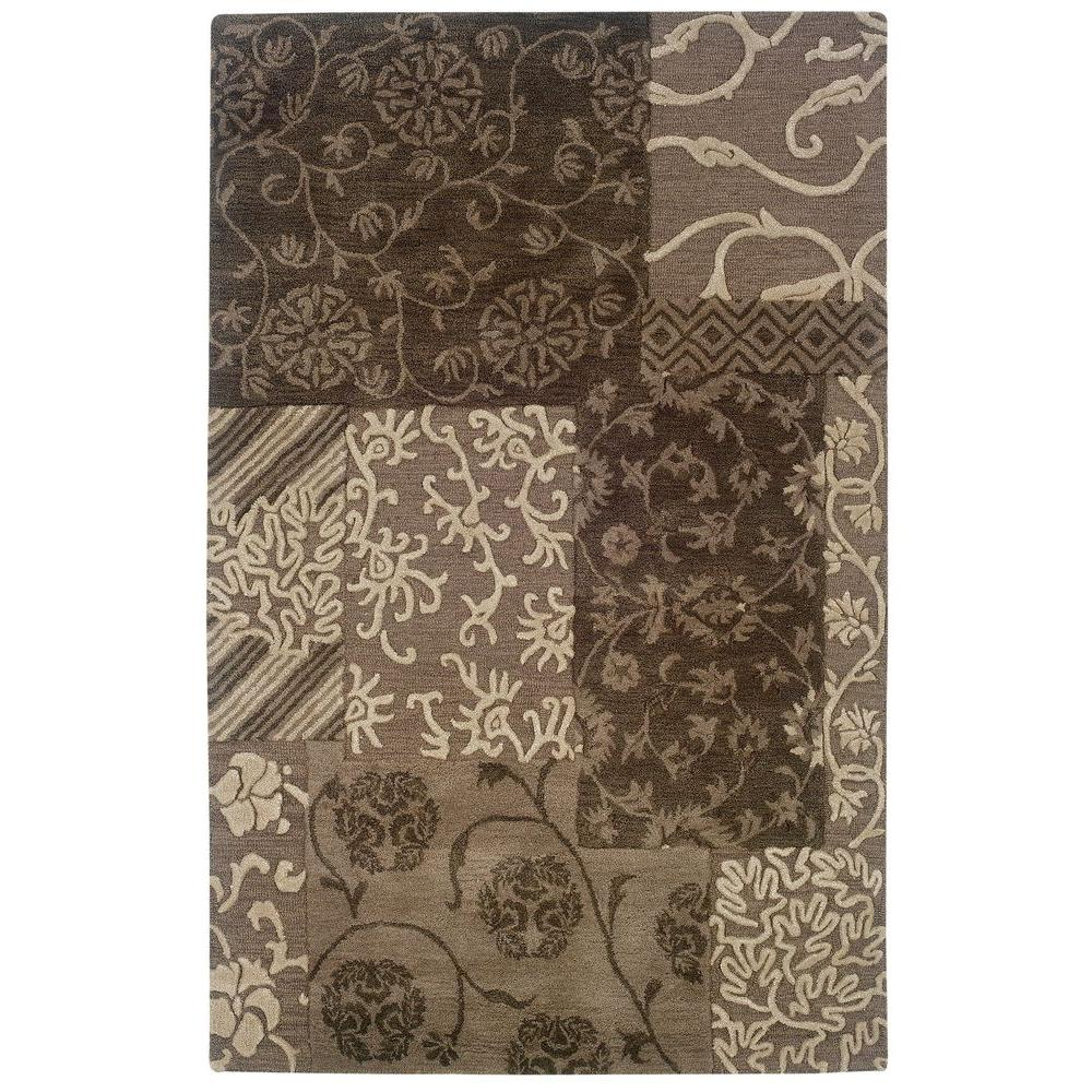 Ashton Collection Brown and Cream 8 ft. x 11 ft. Indoor