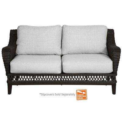 Woodbury All-Weather Wicker Outdoor Patio Loveseat with Cushion Insert (Slipcovers Sold Separately)