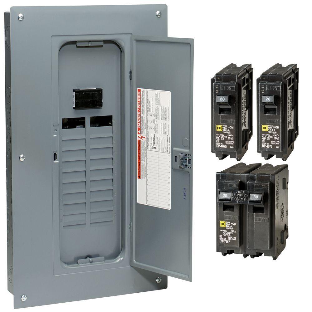 Square D Main Breaker Box Kit 100 Amp 20-Space 40-Circuit 1-Phase Load Center