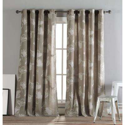 Aster 84 in. L Polycotton Grommet Panel in Taupe (2-Pack)