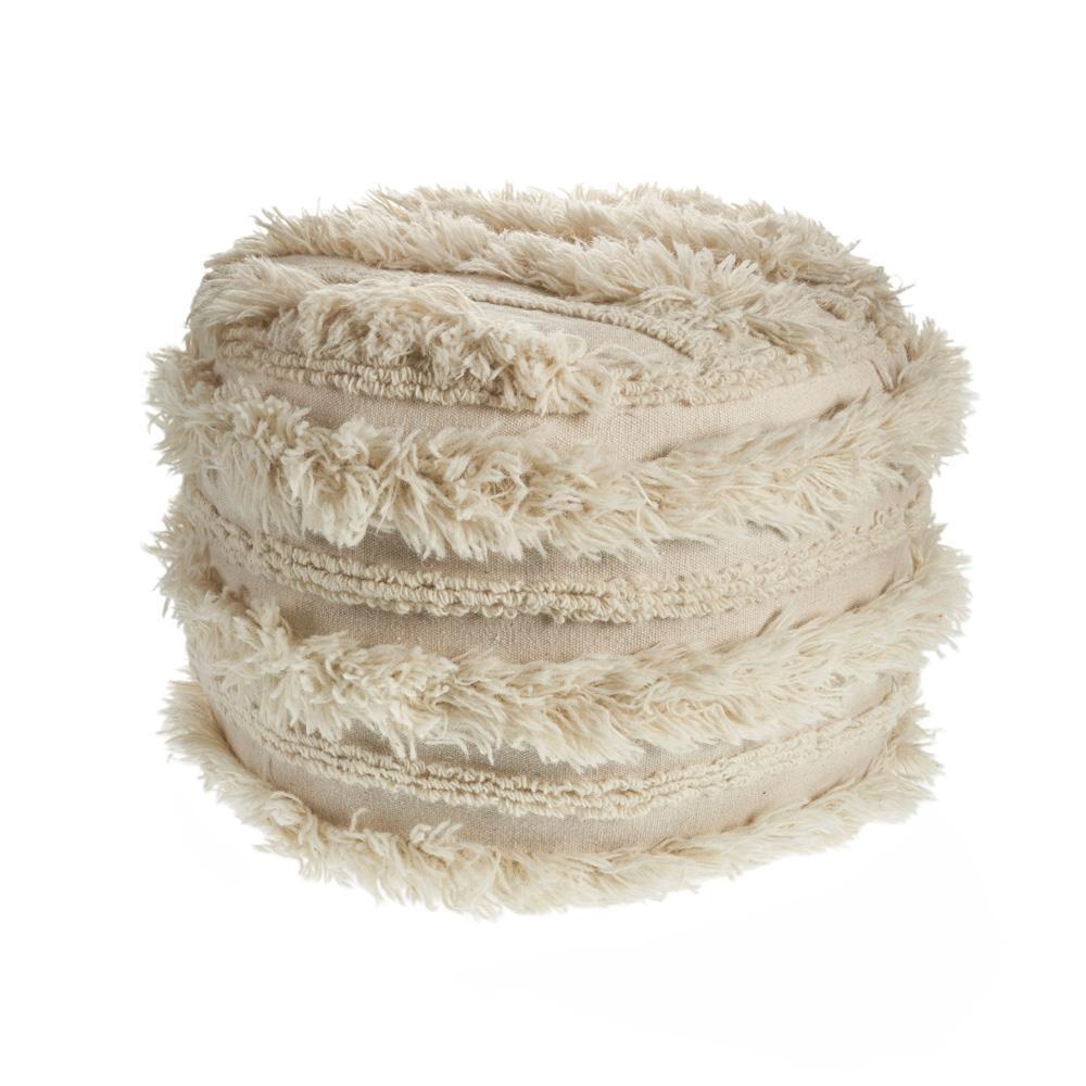 Fluffy Shaggy Faux Fur Ivory Pouf Ottoman