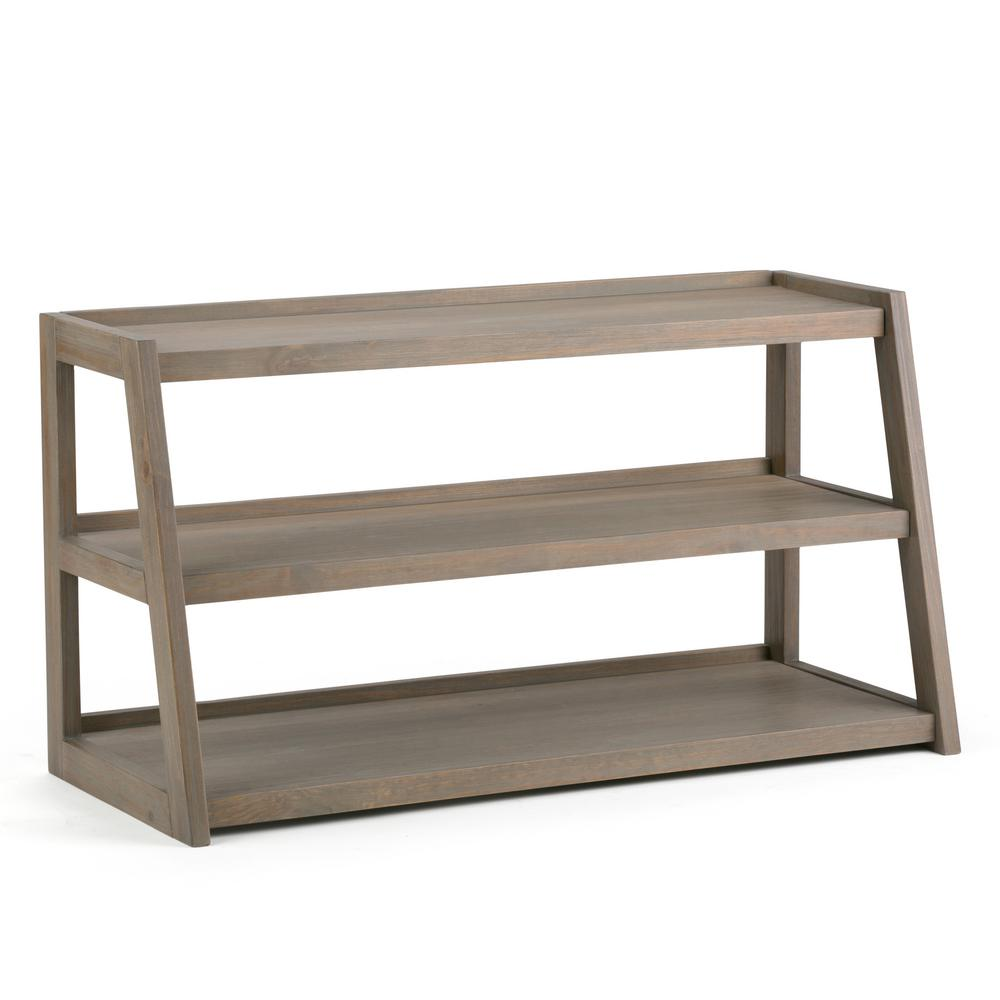 Sawhorse 48 in. Distressed Grey Wood TV Stand Fits TVs Up to 52 in. with Solid Wood