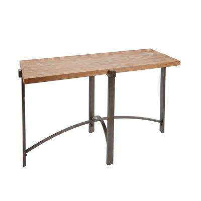 Lewis Wood and Gray Console Table with Wood Top