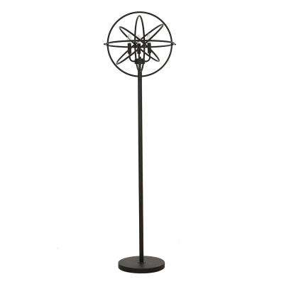 60 in. Black Industrial Chandelier Floor Lamp with LED Bulb Included