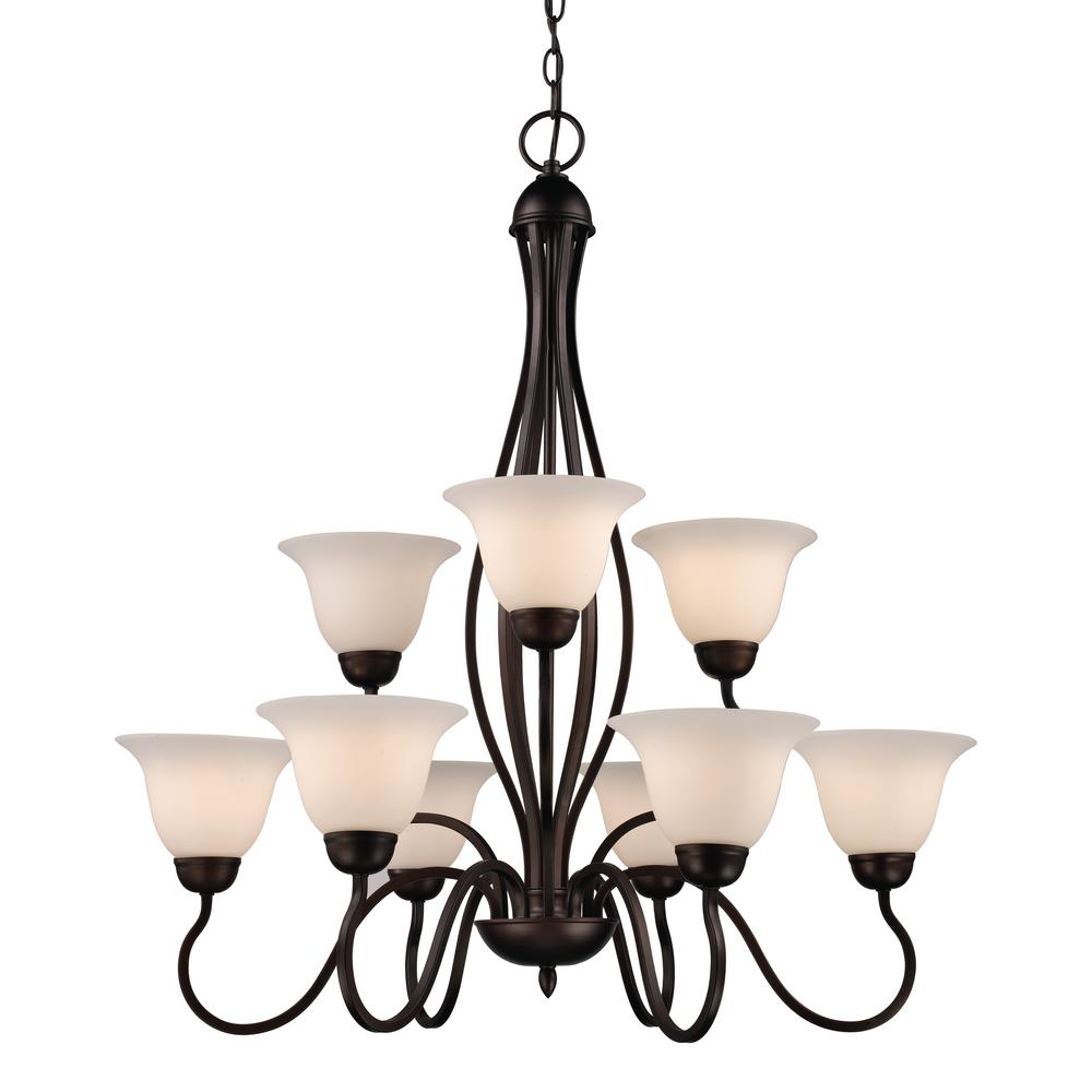 Bel Air Lighting Glasswood 9 Light Rubbed Oil Bronze Chandelier