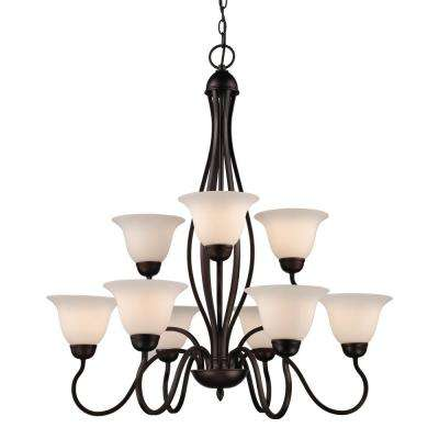 Glasswood 9-Light Rubbed Oil Bronze Chandelier