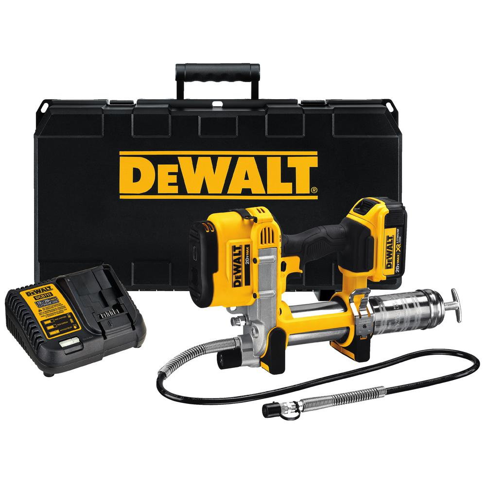 DEWALT 20-Volt MAX Lithium-Ion Cordless Grease Gun Kit with Battery 4Ah, Charger and Kit Box